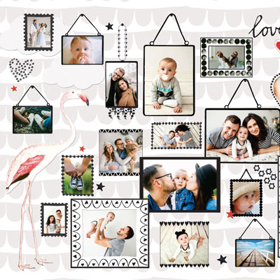 Collage Flamingo met babyfoto's